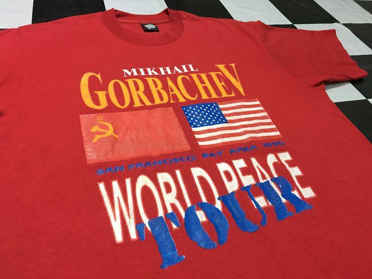 Vintage Mikhail Gorbachev world peace tour t-shirt San francisco Bay area 1990 Size L Made in usa by AlivevintageShop on Etsy
