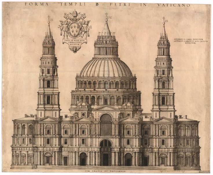 Sangallo's design for the Basilica of St Peter in the Vatican; plan of the facade, with Pope Paul III's coat of arms to left and the Papal keys and umbrella to right.  1547 Engraving