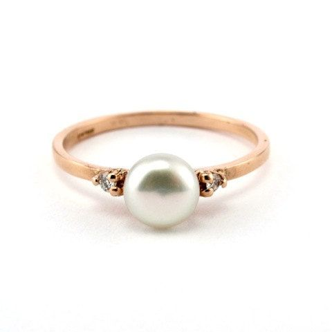 Size 6 Rose Gold Engagement Ring Minimalist Pearl Ring 14K by netawolpe