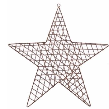 Nkuku Large Hadi Star: These striking Hadi stars by Nkuku handmade from wire, were intricately shaped and moulded by artisans in Rajasthan. These stars make great wall art with a rust finish giving it a timeless industrial look.