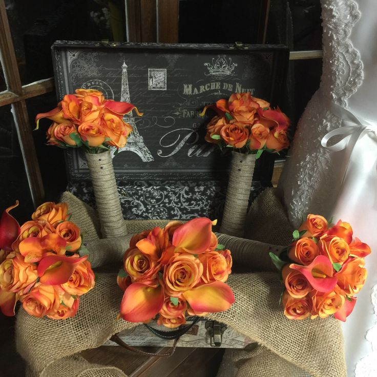 5 piece Silk Burnt Orange Rose & Real Touch Orange calla lily Wedding Package ** The Set is Made to Order and Delivery is approximately 3 weeks from payment date. ** 1 Bride's 10in Round Bouquet Real