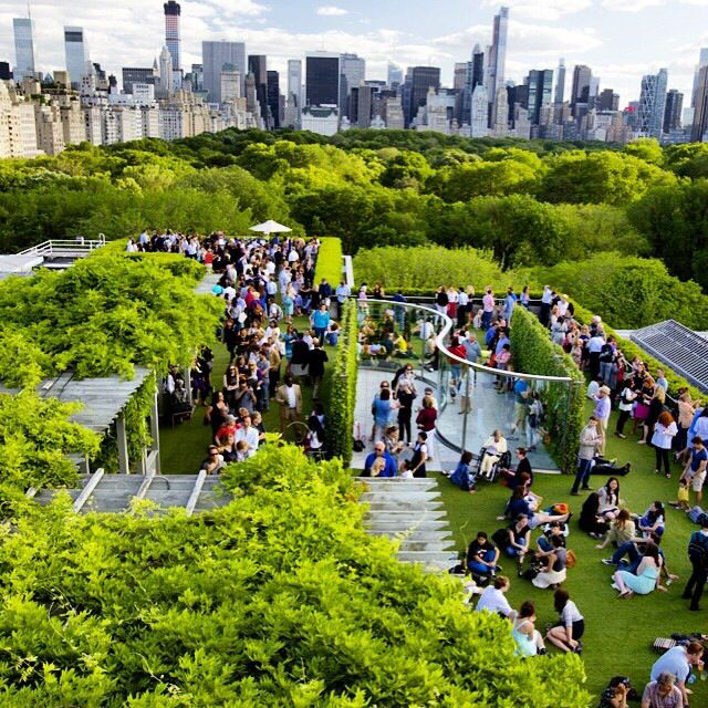 NYC. The Metropolitan Museum rooftop over Central Park, Summer
