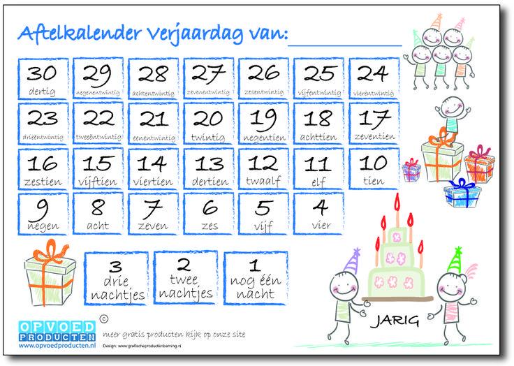 Gratis aftelkalender Verjaardag voor kinderen. Laat kinderen zelf de dagen aftellen totdat ze jarig zijn.   Klik op de afbeelding om naar de download te gaan. http://www.opvoedproducten.nl/product/aftelkalender-verjaardag/235