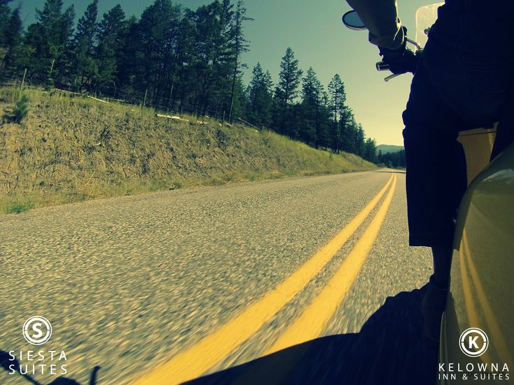 Great open roads lead you to Kelowna. Whether on two wheels or four, we welcome you to our warm city and wish you a safe and relaxing journey.    www.kelownainnandsuites.com  1.800.667.6133  #roadtrip #summerinkelowna #kelowna
