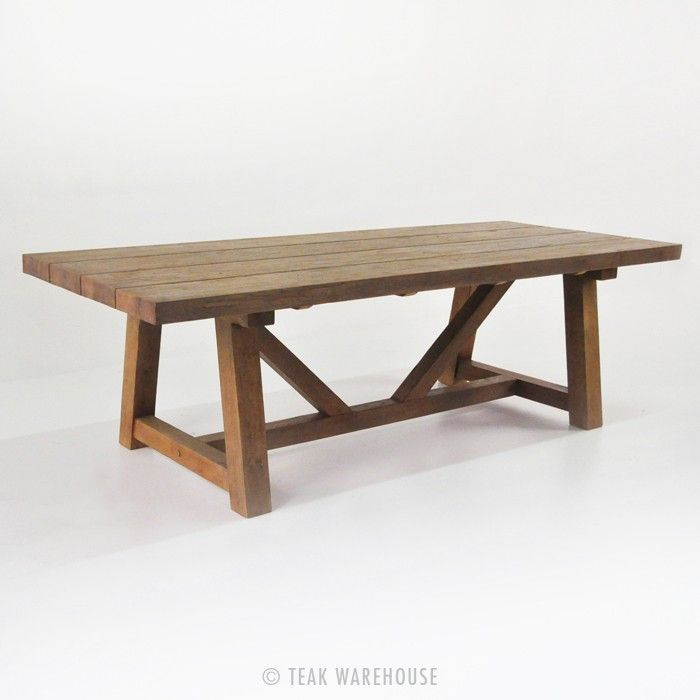 Outdoor Dining Set | Reclaimed Teak Trestle Table & Bench with 5 Wicker Chairs
