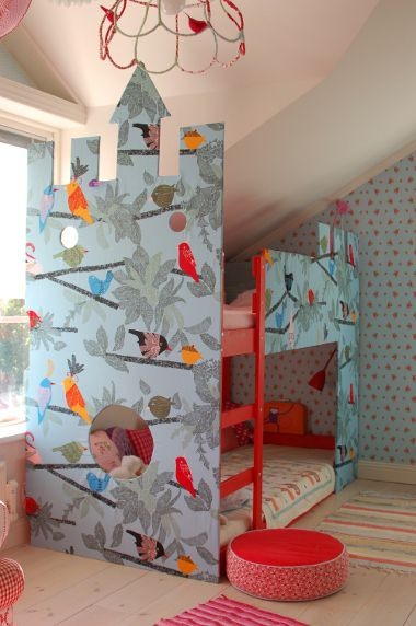 IKEA Hack - Kura bunk beds covered with IKEA fabric