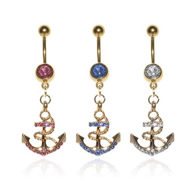 Supreme Jewelry Goldtone Surgical Steel Anchor Belly Rings