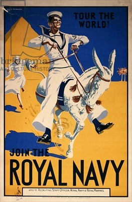 'Tour the World. Join the Royal Navy', navy recruitment poster, 1936 (colour litho), Cattermole, Lance (1898-1992) / © Royal Naval Museum, Portsmouth,