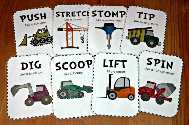 Gross motor construction movement cards