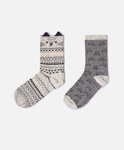 2-pack of cat socks - Socks - Autumn Winter 2016 trends in women fashion at Oysho online. Lingerie, pyjamas, sportswear, shoes, accessories, body shapers, beachwear and swimsuits & bikinis.