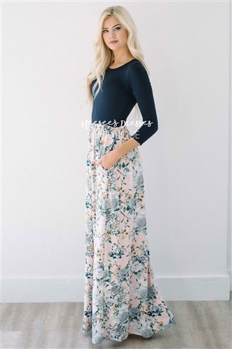 Navy Pink Gray Floral Maxi Modest Dress, Church Dresses, dresses for church, modest bridesmaids dresses, best modest boutique, modest clothes, affordable modest clothes, cute modest dresses, maxi dress, floral dress, dresses with sleeves