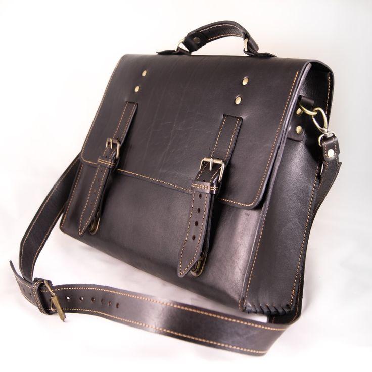 Мужской кожаный портфель ручной работы.  Номер по каталогу: №016