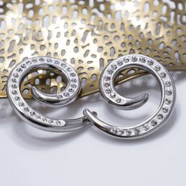 Pair of Steel Spiral Ear Tapers Seamless with Cz Gems. Available in multiple sizes.  SALE $12.95