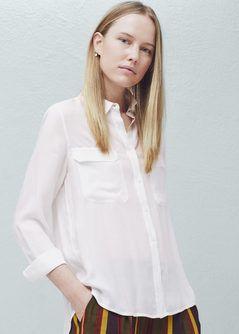Szyfonowa bluzka z koralikami - Koszule dla Kobieta | MANGO Polska