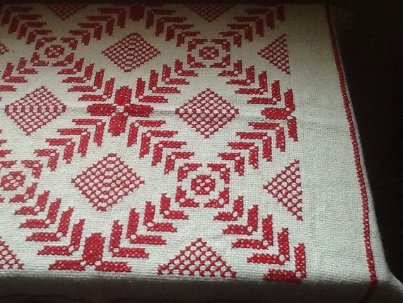 Red and White Scandinavian Tablecloth with by ContemporaryVintage, $25.00