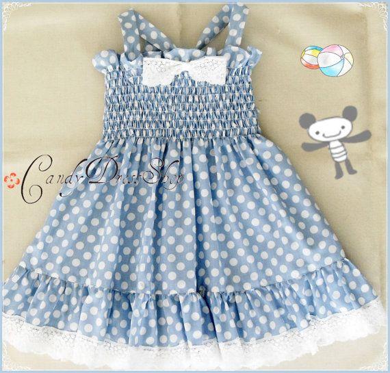 Periwinkle blue polka dot dress for girls - Easter dress , Party dress , Light blue dress for baby , Blue birthday dress