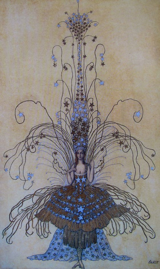 Leon Bakst drawing for Queen of the Night costume, 1922/Léon Samoilovitch Bakst (Russian: Лео́н Никола́евич Бакст; 10 May 1866 – 28 December 1924) was a Russian painter and scene- and costume designer. He was a member of the Sergei Diaghilev circle and the Ballets Russes, for which he designed exotic, richly coloured sets and costumes....