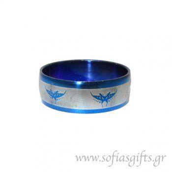 Ανδρικό δαχτυλίδι metal blue πεταλούδα