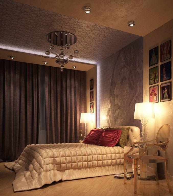 Спальня, Спальня для молодой женщины, спальня, гламур, starck, cattelan, сиреневый, фиолетовый, fabbian, wall - decò, просмотров 702