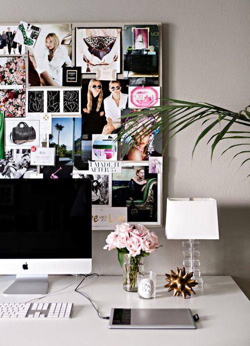 Erika Brechtel's office makeover desk + pinboard