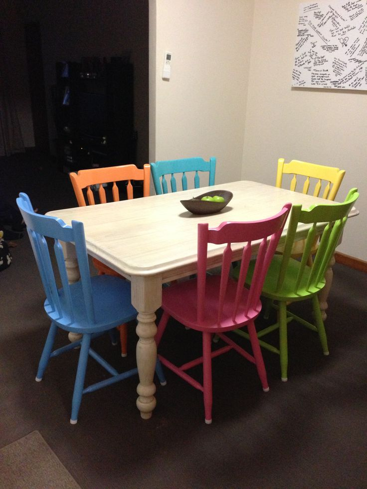 my freshly painted dining table with different coloured chairs a whitewash affect - Colorful Dining Room Tables