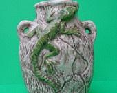 Ceramic Lizard Vase -7.5 inches, hand painted