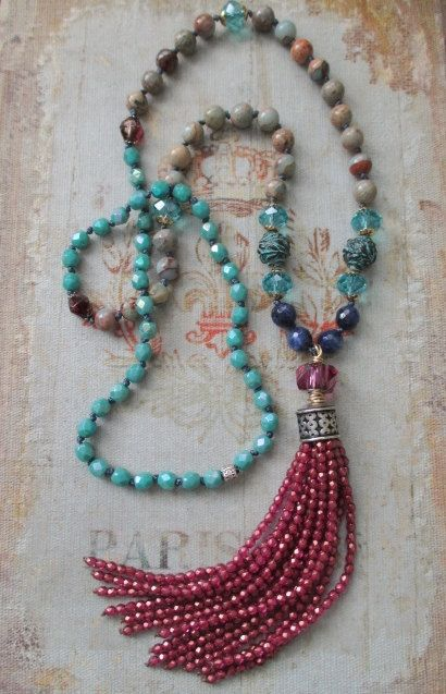 Knotted tassel necklace Sunset Blues pink blue by slashKnots
