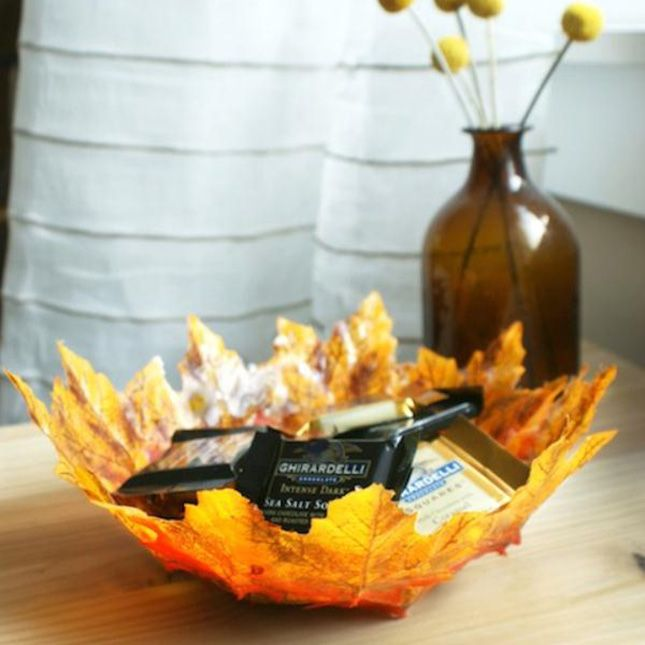 Use Mod Podge and a foam ball form to make this fall leaf bowl.