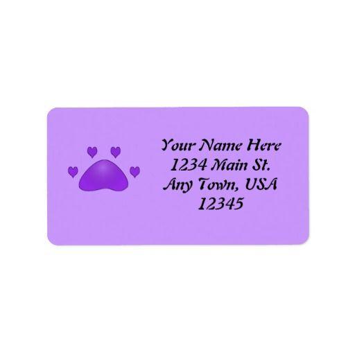Purple Paw Print Label