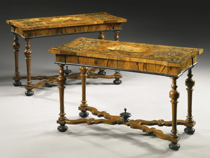 High Quality A Pair Of Italian Ivory, Mother Of Pearl, Pewter And Fruitwood Inlaid  Walnut, Ebony Marquetry And Parquetry Console Tables