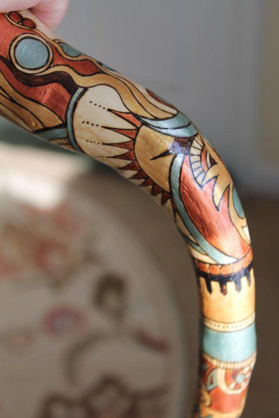 Wooden walking cane with OOAK wood-burned by AtkinsGlassandCanes