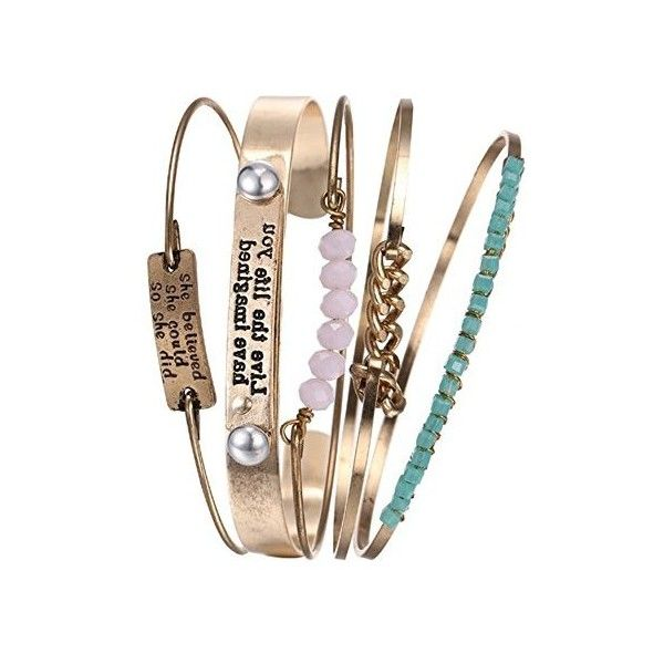 """Young Forever """"Trendsetter Collection"""" 'The Inspo' Wire Gold Plated... ❤ liked on Polyvore featuring jewelry, bracelets, gold plated jewelry, wire jewelry, wire bangles, gold plated bangles and gold plated jewellery"""