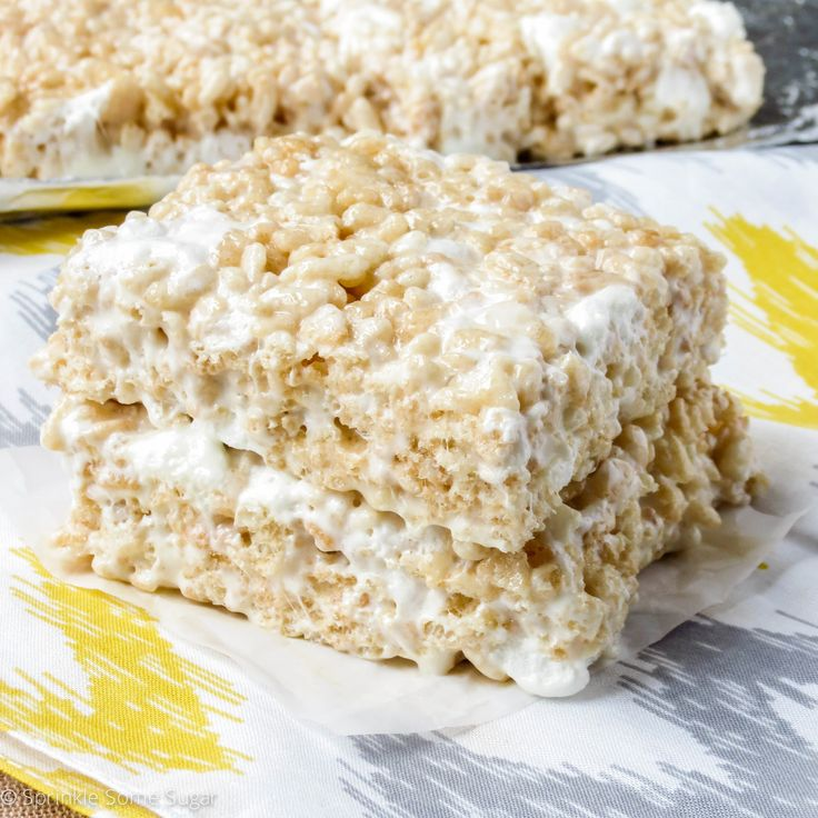 Perfect Rice Krispie Treats: Line 9x13pan with foil; spray. In lg pot on MED-LO, melt 1/2c unsalted butter. Add 9c marshmallows (need two 16oz bags in total), stir til amost all melted. Off heat stir in 8.5c Rice Krispies. Add another 3.5c marshmallows; fold in quickly so they don't melt. Press evenly into pan. Cool.