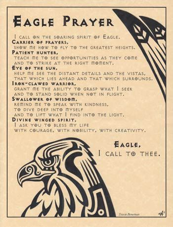 Eagle Prayer poster The Eagle Prayer Poster offers you an invocation to the sacred Eagle, seeking its noble wisdom, strength, and spirit and all that it can offer. With heartfelt words from Travis Bowman accented by the spiritual artwork of Eliot Alexander, the poster is a wonderful addition to any sacred space for those who simply wish to be reminded of the qualities of the Eagle.