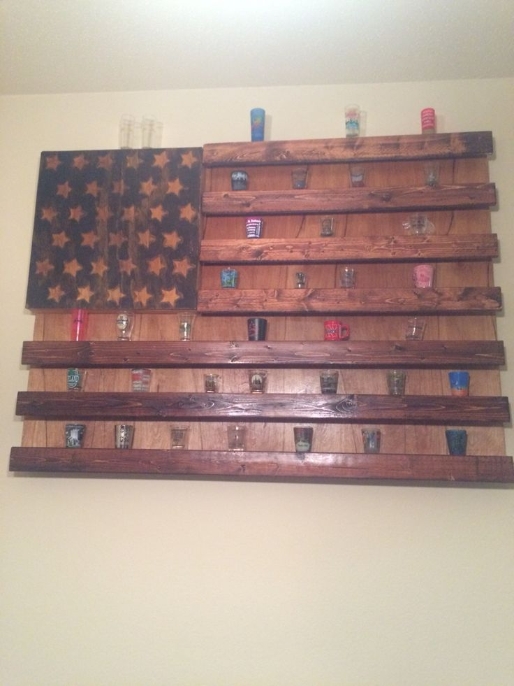 Rustic American Flag Shot Glass Display