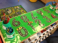 Number formation display I think this is fabulous for engaging the boys. I would probably introduce one number at a time and slowly build it up.