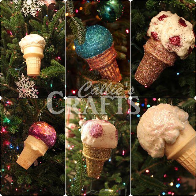 Make ice cream cone ornaments using expanding foam.