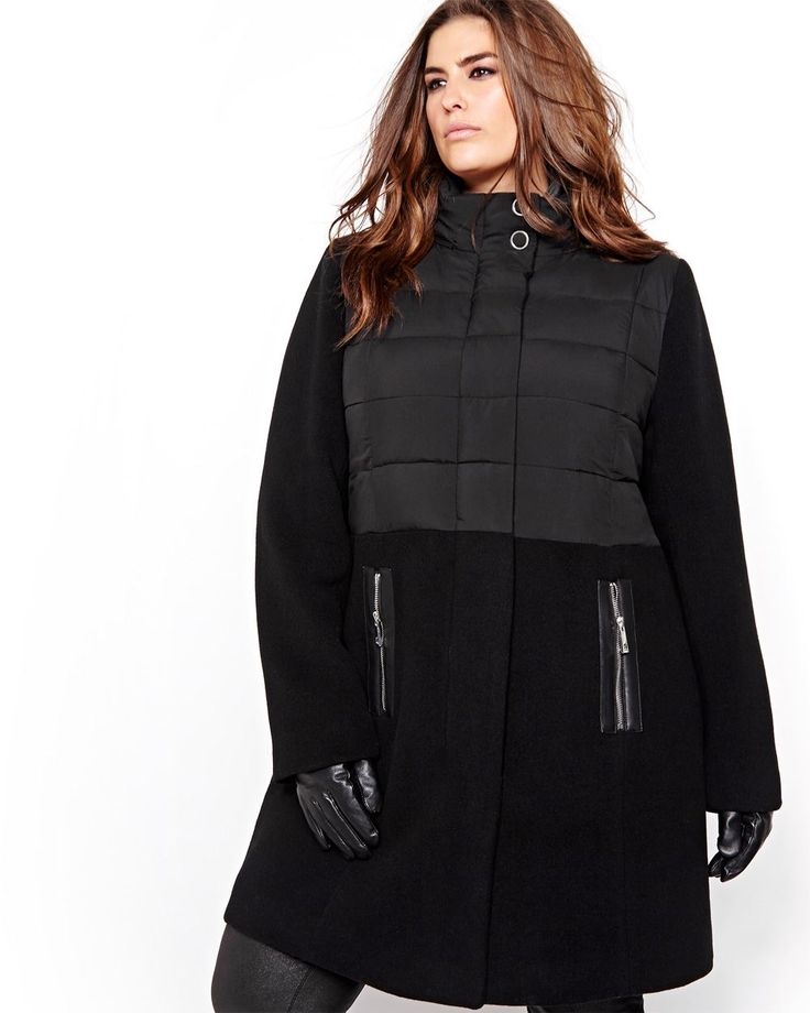 Here is a chic coat for going out on the town or for going to work. Totally on-trend, this plus size jacket is made of many different types of fabrics, such as wool skirt and sleeves, and puffer jacket vest with a high neckline. Michel Studio, 37 inch length.