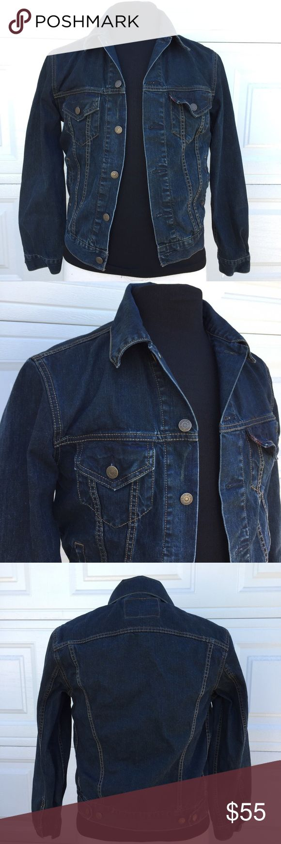 LEVI'S Men's Jean Jacket button up size Small You're purchasing a Mens LEVI'S jean button up jacket. Medium to Dark Wash. Pre-Owned in good condition. Size Small. See pics for measurements. Levi's Jackets & Coats Lightweight & Shirt Jackets