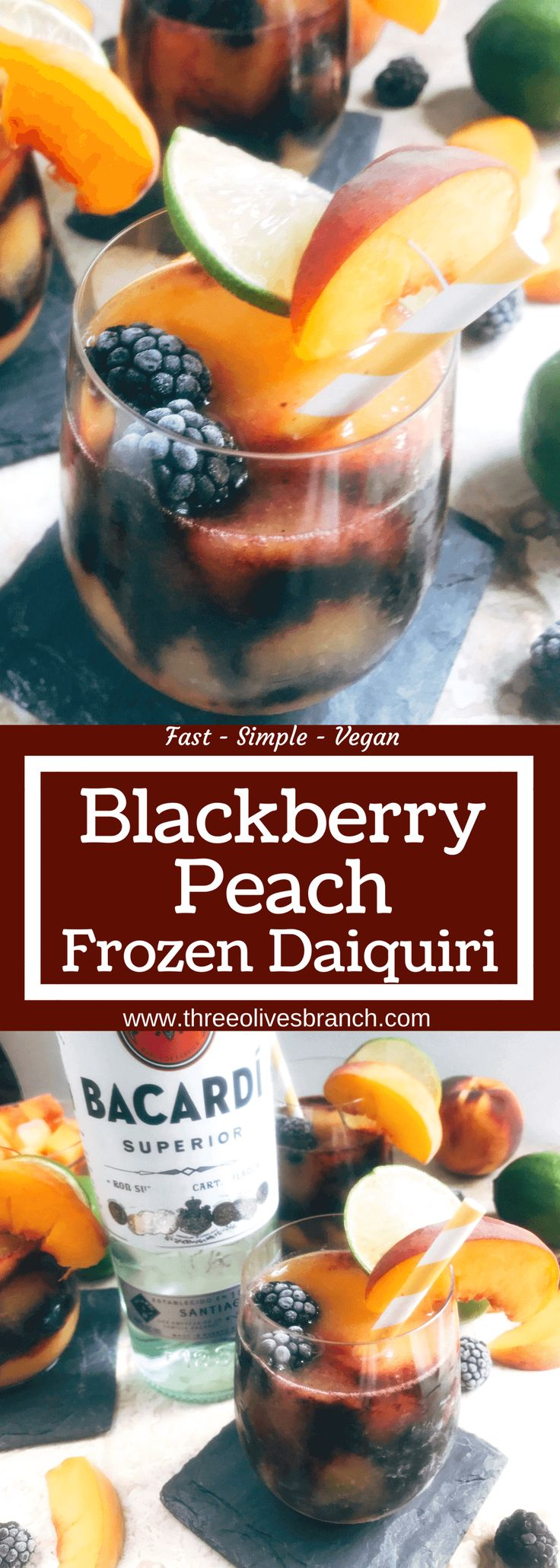 Msg 4 21+ A quick and simple blended alcoholic beverage perfect for warm summer weather. Peaches and blackberries are blended with Bacardi Superior Rum, simple syrup, and lime to make this frozen layered drink. Just 10 minutes for this easy cocktail. Vegan, vegetarian. Blackberry Peach Frozen Daiquiri | Three Olives Branch | www.threeolivesbranch.com #RumInTheSun #ad