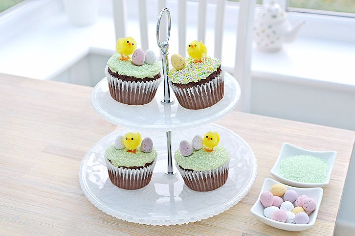 Easter chick chocolate cupcakes (stuffed with dairy milk caramel eggs)