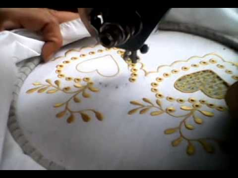 Embroidery with vintage sewing machine...darn interesting