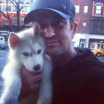 Gerard Butler and Puppy So cute