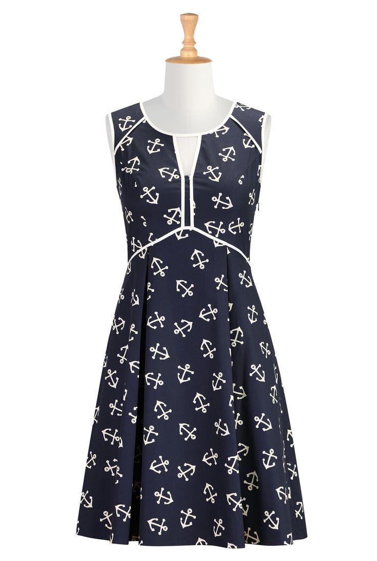 Nautical Print Poplin Dresses, Contrast Piped Trim Dresses Womens stylish dress | Party Dresses | Women´s Going Out Dresses | eShakti.com