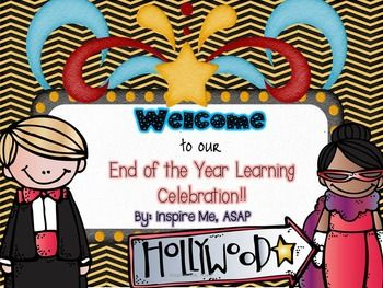 Lights, Camera, Action! Students turn into celebrities, teachers turn into directors, and parents turn into fans! There is no better way to end the year than with a celebration of learning!This file includes:-Detailed directions and activity sheets for the different components of the celebration-Colorful and cute bulletin board posters-committee sign up sheets-award catagories and sample award-invitation for the families to attend the primier-Sample narrator script and narrator…