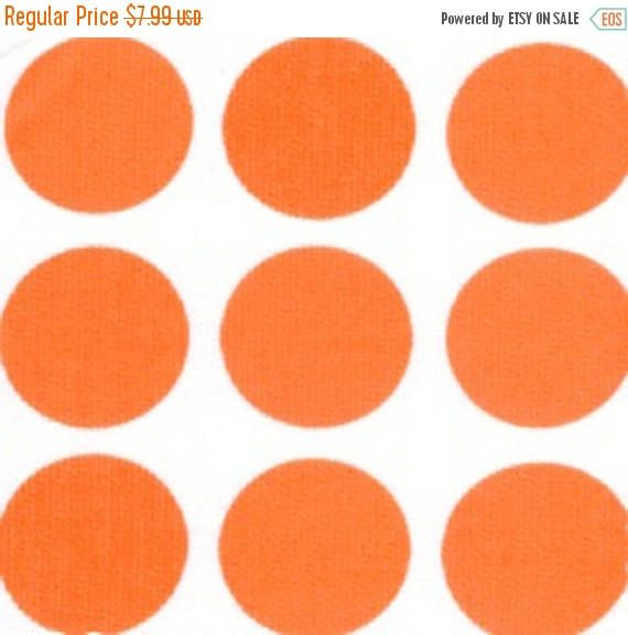ON SALE - 15% Off Fabric Finders 527 White Orange Polka Dot Pique Clothing Quilting Fabric BTY