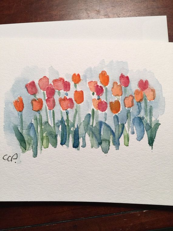 Field of Tulips Watercolor Card / Hand Painted Watercolor Card This is an original card. I have used ink and watercolor in this original card. The card is painted on heavy 140# card stock. This card is 5x7 and blank inside. This card is in landscape orientation. Comes with a matching envelope in a protective sleeve.