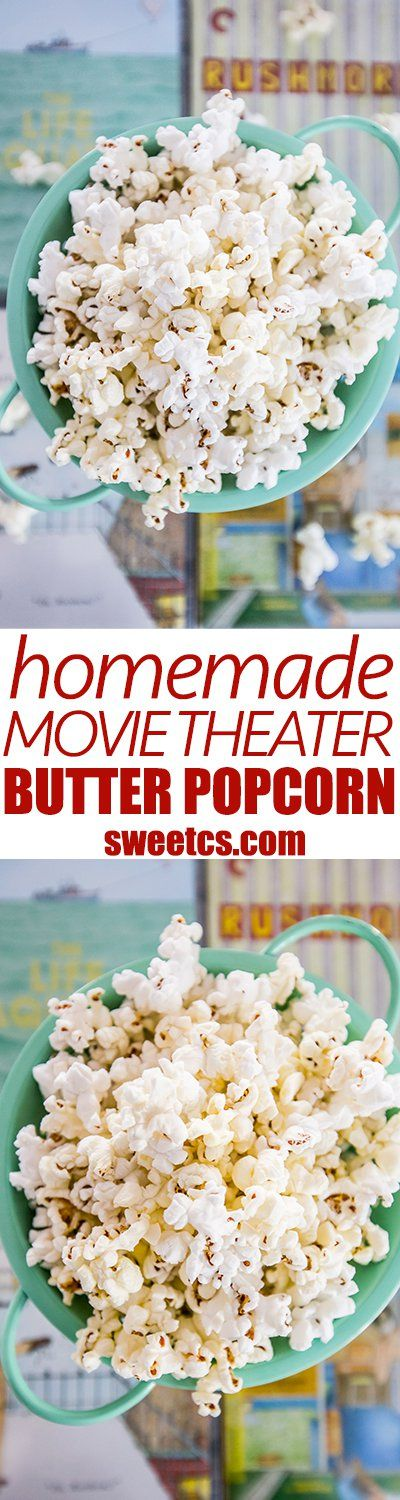 homemade buttered popcorn- just like movie theater with no fake stuff! Its so easy and delicious!