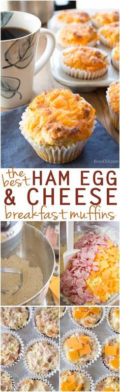 Easy Breakfast Muffins - ham, egg, and cheese. Perfect for busy morning when you don't have time to cook but want to serve a hot, homemade meal.