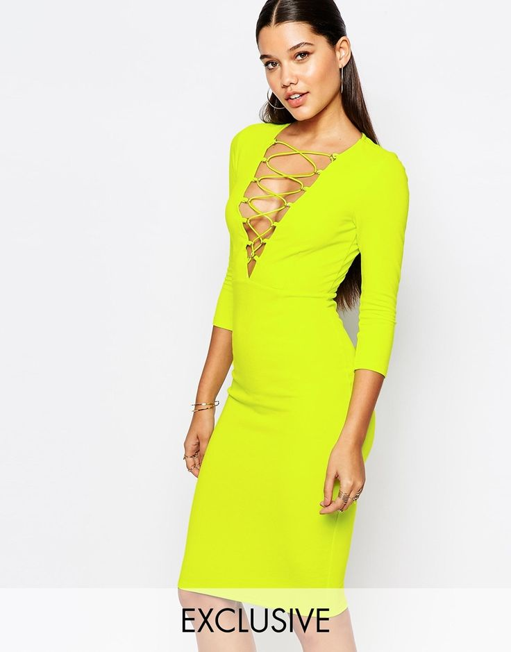 Naanaa Lace Up Front Midi Bodycon Dress With 3/4 Sleeve